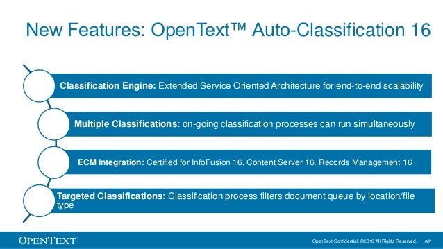 OpenText Confidential. ©2016 All Rights Reserved. 67 New Features: OpenText™ Auto-Classification 16 Classification Engine:...