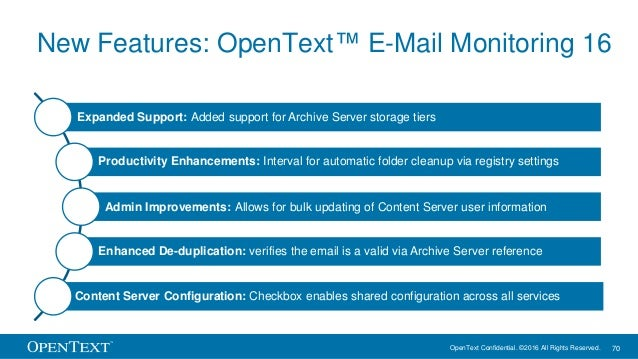 OpenText Confidential. ©2016 All Rights Reserved. 70 New Features: OpenText™ E-Mail Monitoring 16 Expanded Support: Added ...