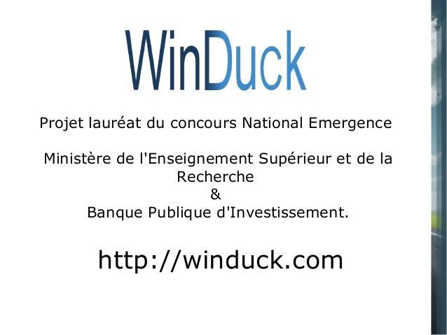 Projet lauréat du concours National Emergence Ministère de l'Enseignement Supérieur et de la Recherche & Banque Publique d...
