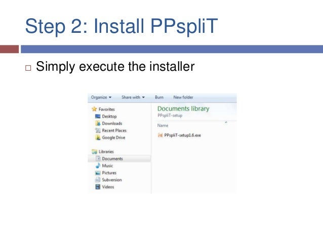 Step 2: Install PPspliT   Simply execute the installer