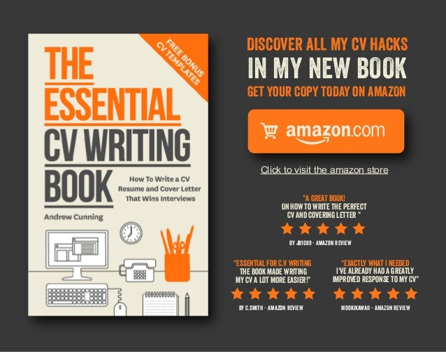 "DISCOVER ALL MY CV HACKS  IN MY NEW BOOK GEt Your COPY TODAY oN AMAZON  Click to visit the amazon store ""A GREAT BOOK! ON ..."