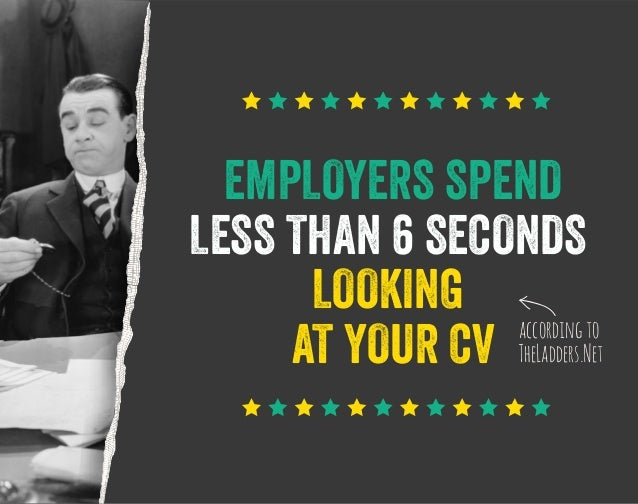 EMPLOYERS SPEND LESS THAN 6 SECONDS LOOKING according to AT YOUR CV TheLadders.Net