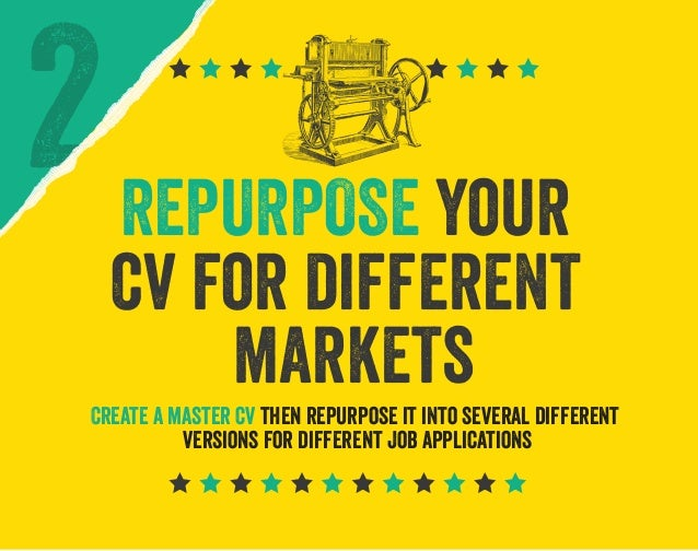 REPURPOSE your cv for different markets Create a master cv then repurpose it into several different versions for different...