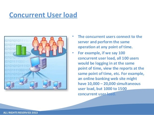 ALL RIGHTS RESERVED 2013 Concurrent User load • The concurrent users connect to the server and perform the same operation ...