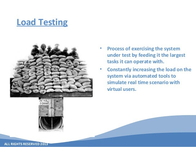 ALL RIGHTS RESERVED 2013 Load Testing • Process of exercising the system under test by feeding it the largest tasks it can...