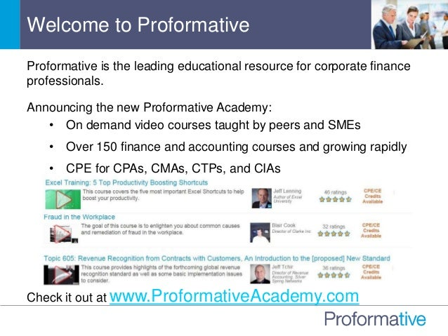 Proformative is the leading educational resource for corporate finance professionals. Announcing the new Proformative Acad...
