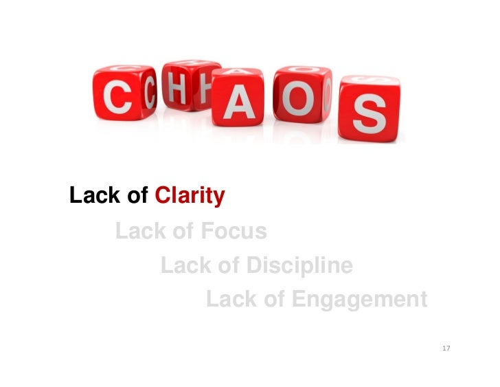Lack of Clarity    Lack of Focus       Lack of Discipline            Lack of Engagement                                 17