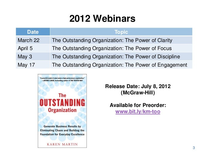 2012 Webinars    Date                            TopicMarch 22   The Outstanding Organization: The Power of ClarityApril 5...
