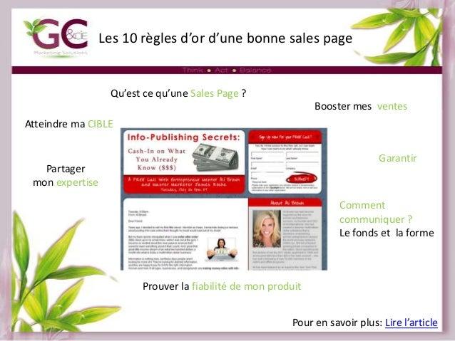 Les 10 règles d'or d'une bonne sales page  Qu'est ce qu'une Sales Page ? Booster mes ventes Atteindre ma CIBLE Garantir  P...