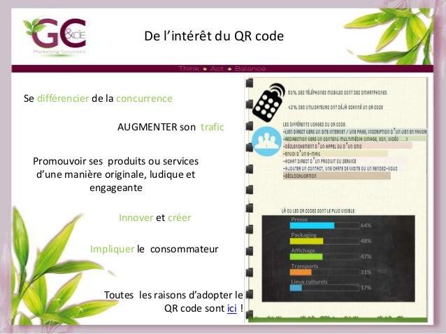 De l'intérêt du QR code  Se différencier de la concurrence AUGMENTER son trafic Promouvoir ses produits ou services d'une ...