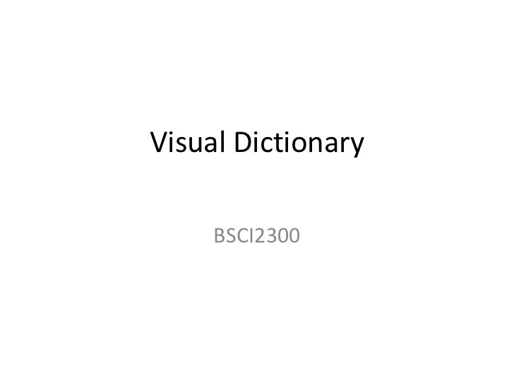 Visual Dictionary<br />BSCI2300<br />