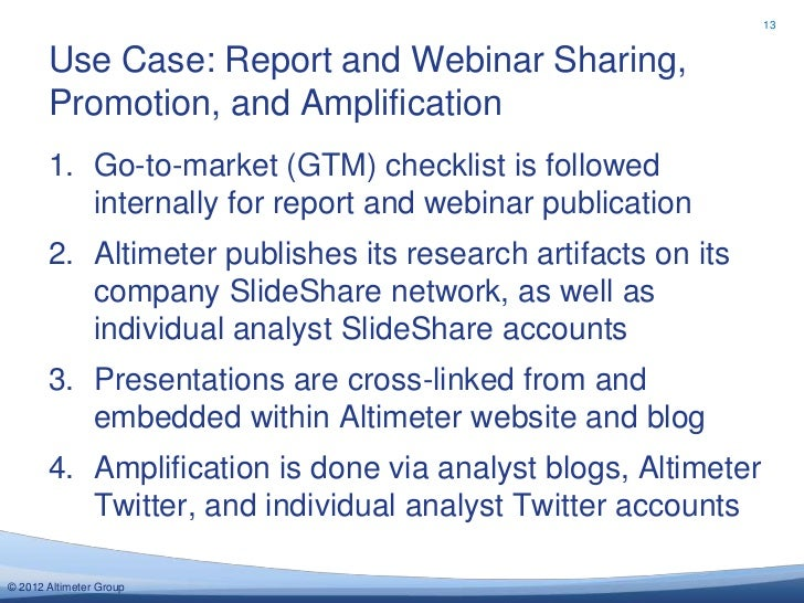 13       Use Case: Report and Webinar Sharing,       Promotion, and Amplification       1. Go-to-market (GTM) checklist is...