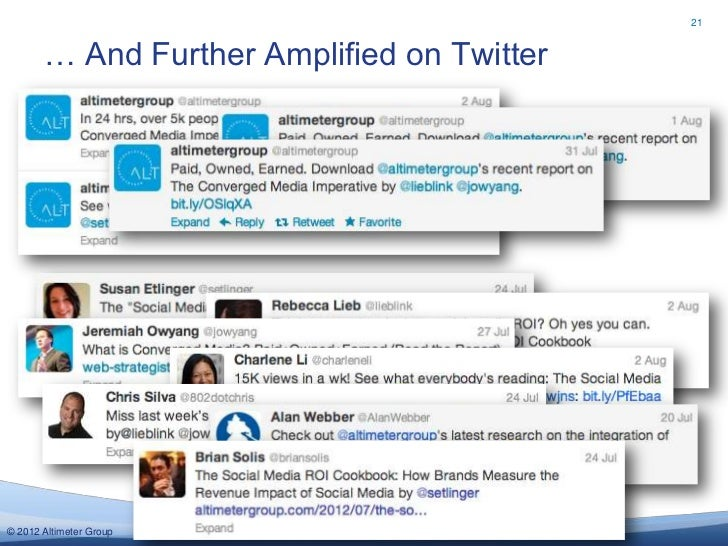 21       … And Further Amplified on Twitter© 2012 Altimeter Group