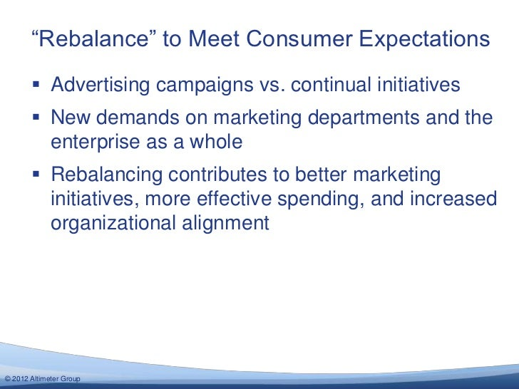 """""""Rebalance"""" to Meet Consumer Expectations        Advertising campaigns vs. continual initiatives        New demands on m..."""