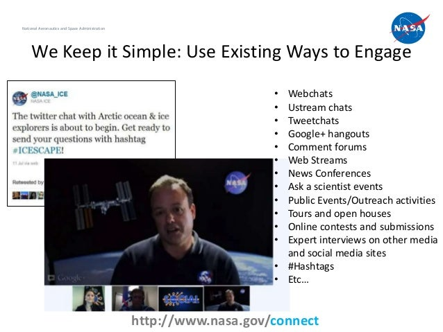 National Aeronautics and Space Administration    We Keep it Simple: Use Existing Ways to Engage                           ...