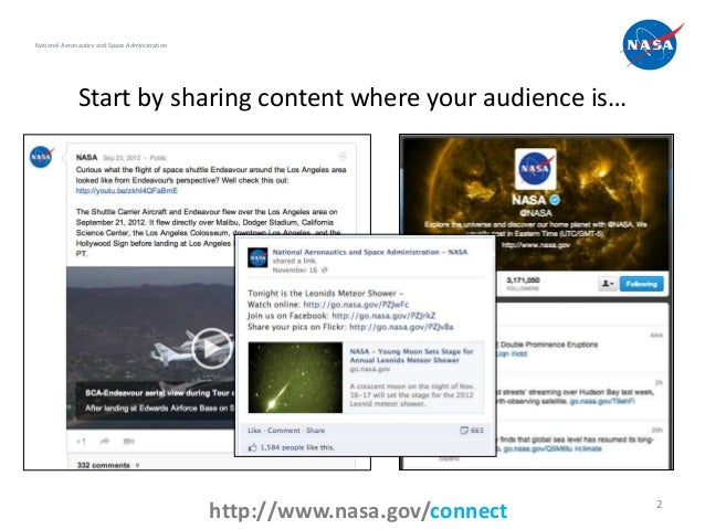 National Aeronautics and Space Administration              Start by sharing content where your audience is…               ...