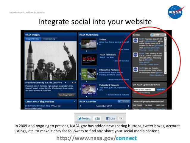 National Aeronautics and Space Administration                                    Integrate social into your website      I...