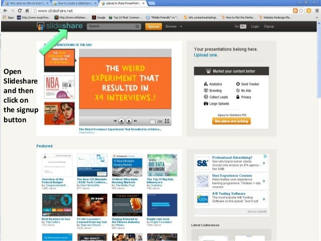 Open Slideshare and then click on the signup button