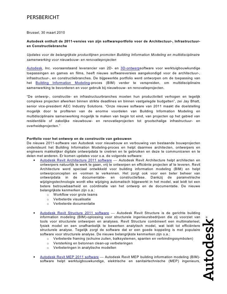 PERSBERICHT  Brussel, 30 maart 2010  Autodesk onthult de 2011-versies van zijn softwareportfolio voor de Architectuur-, In...