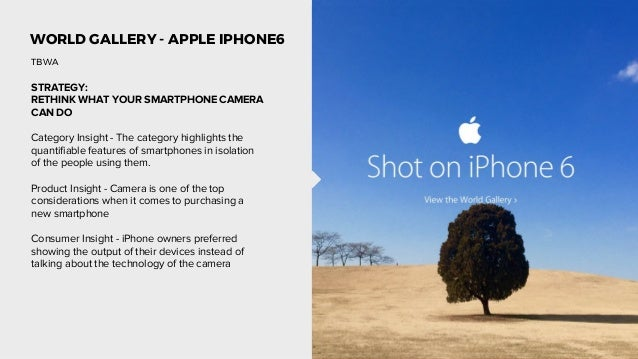 WORLD GALLERY - APPLE IPHONE6 STRATEGY: RETHINK WHAT YOUR SMARTPHONE CAMERA CAN DO Category Insight - The category highlig...