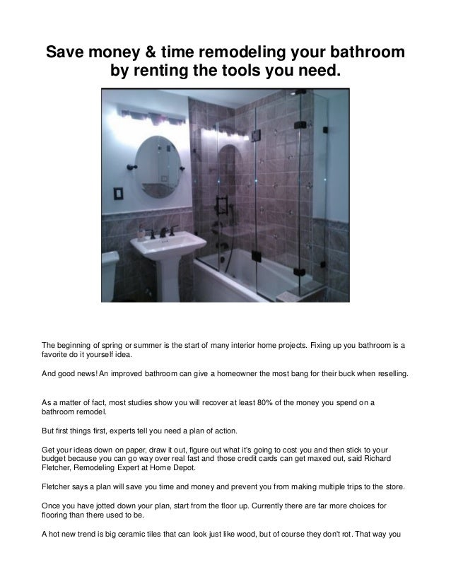 Save money by renting tools save money time remodeling your bathroom by renting the tools you need the beginning can solutioingenieria Image collections