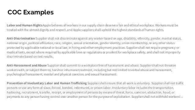 code of ethics for apple inc Apple investigated and found some violations of its supplier code of conduct,  which it had introduced in 2005 the following year, the company published its  first.
