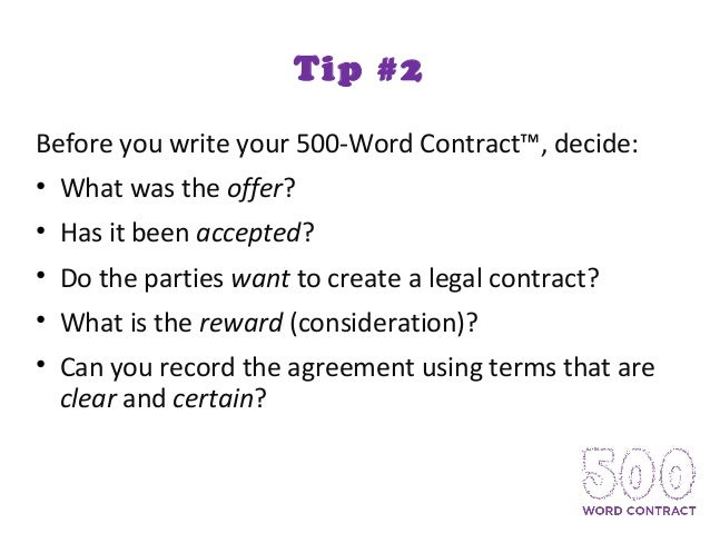 How to Write Your 500-Word Contract