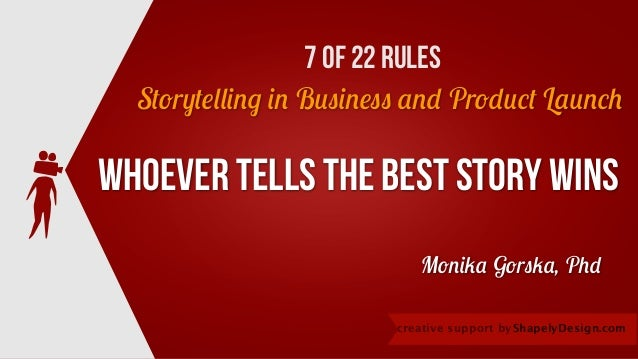 Whoever tells the best story wins Storytelling in Business and Product Launch ShapelyDesign.comcreative support by Monika ...