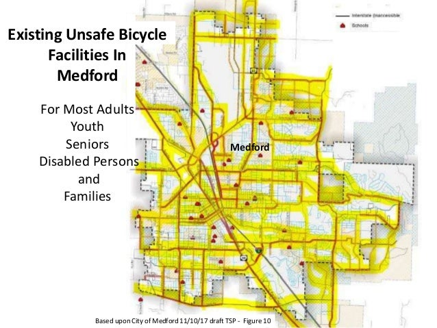 Based upon City of Medford 11/10/17 draft TSP - Figure 10 Existing Unsafe Bicycle Facilities In Medford For Most Adults Yo...