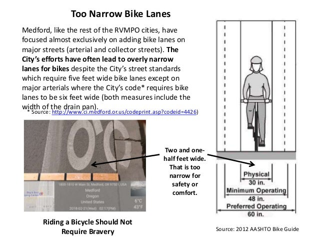 Riding a Bicycle Should Not Require Bravery Two and one- half feet wide. That is too narrow for safety or comfort. Medford...