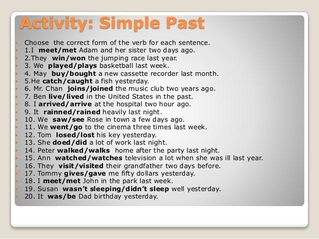 meet simple past tense