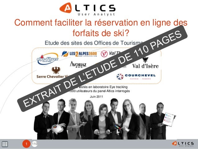 110 9 sites testés en laboratoire Eye tracking 1000 utilisateurs du panel Altics interrogés Comment faciliter la réservati...