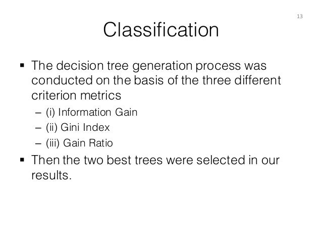 Classification § The decision tree generation process was conducted on the basis of the three different criterion metrics...