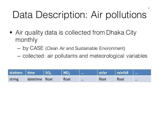 Data Description: Air pollutions § Air quality data is collected from Dhaka City monthly – by CASE (Clean Air and Sustain...