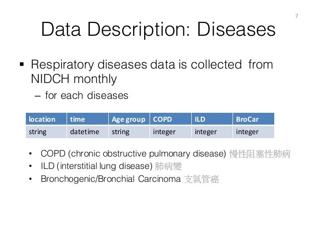 Data Description: Diseases § Respiratory diseases data is collected from NIDCH monthly – for each diseases 7 location tim...