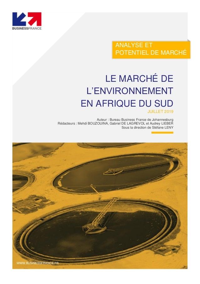 ANALYSE ET POTENTIEL DE MARCHÉ LE MARCHÉ DE L'ENVIRONNEMENT EN AFRIQUE DU SUD JUILLET 2019 Auteur : Bureau Business France...