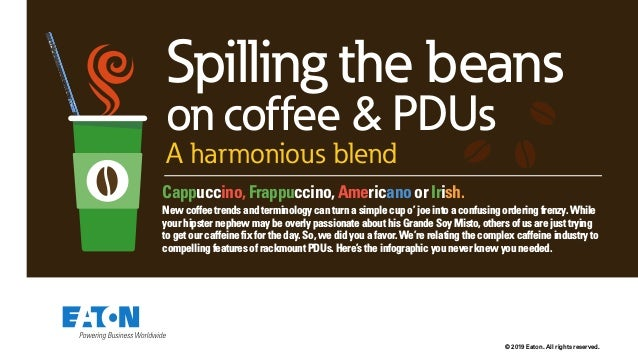 © 2019 Eaton. All rights reserved. Spilling the beans on coffee & PDUs A harmonious blend Cappuccino, Frappuccino, America...
