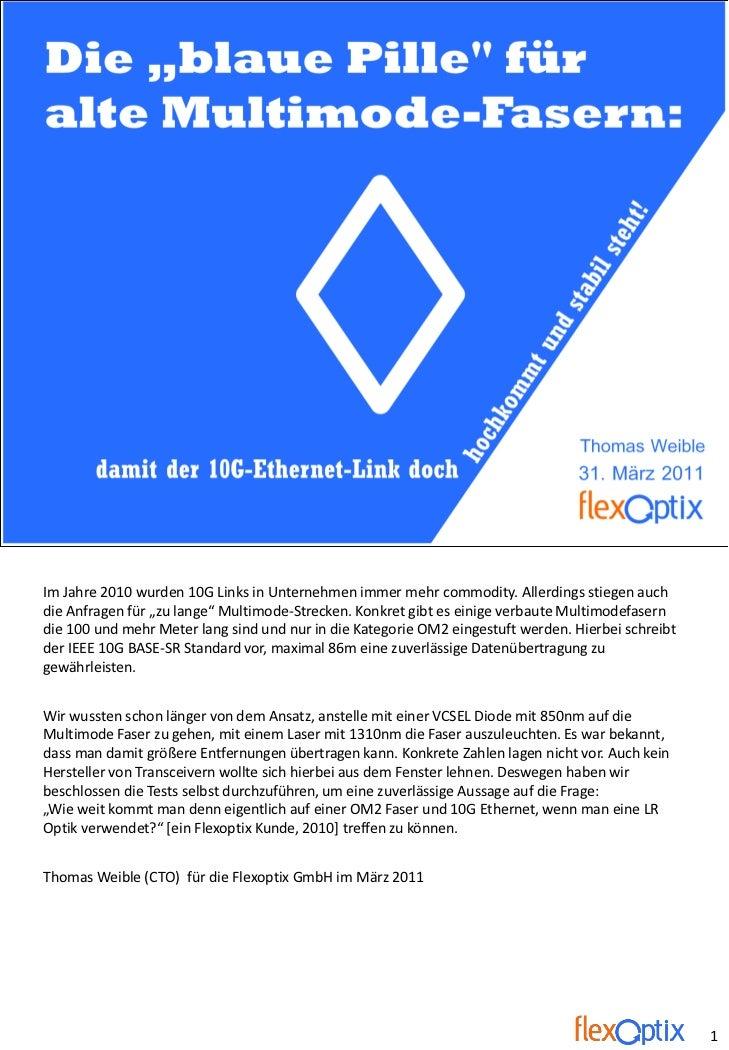 """Die """"blaue Pille"""" für alte Multimode-Fasern: damit der 10G-Ethernet-Link doch hochkommt und stabil steht!           coming..."""