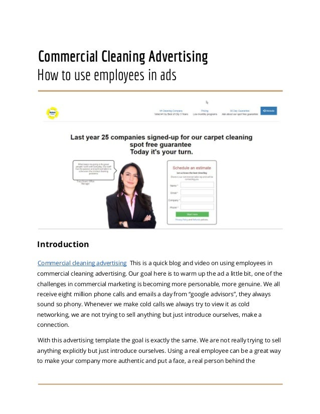 Commercial Cleaning Advertising Employee Ads