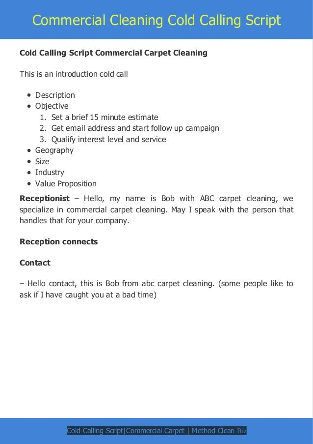 commercial cleaning cold calling script
