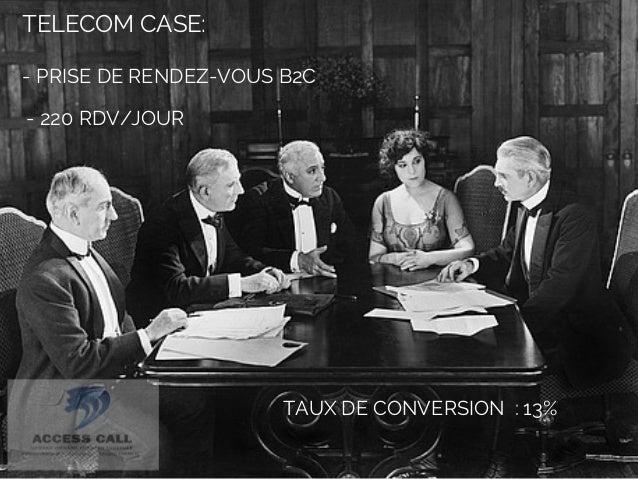 TELECOM CASE:  - PRISE DE RENDEZ-VOUS B2C  - 220 RDV/JOUR  TAUX DE CONVERSION : 13%