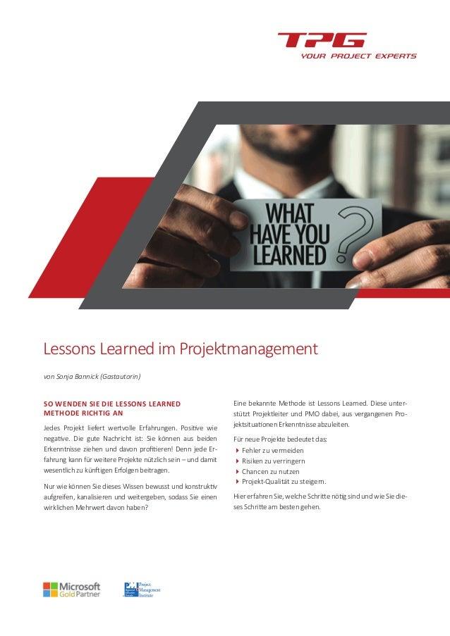 Lessons Learned im Projektmanagement