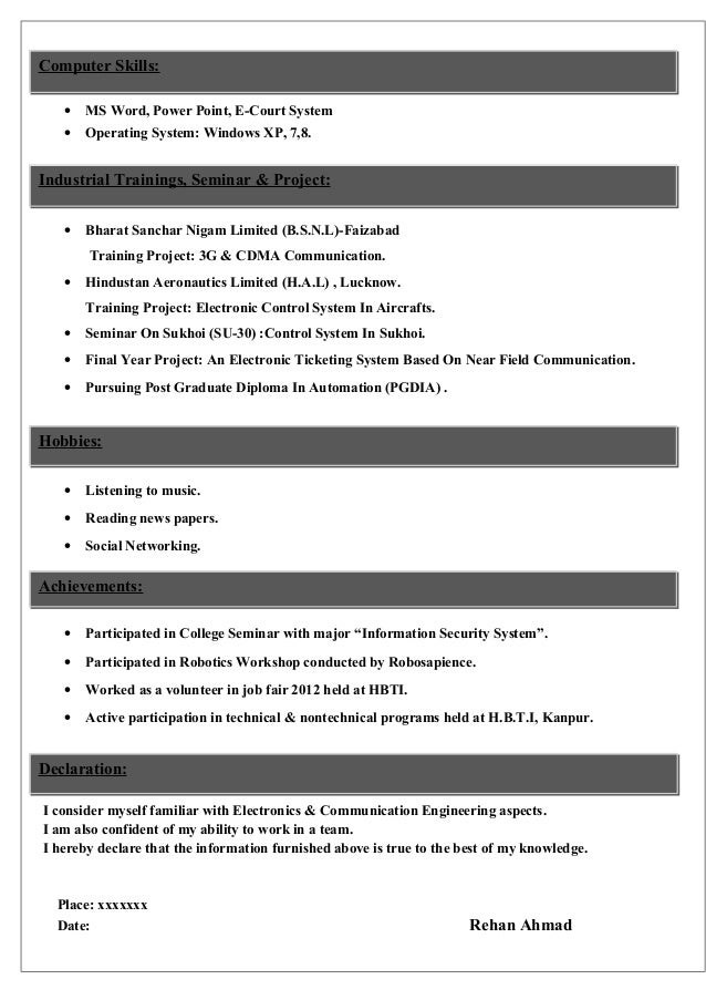 sample cv for electronics  u0026 communications student