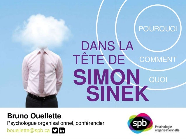 DANS LA  TÊTE DE  SIMON  SINEK  Bruno Ouellette  Psychologue organisationnel, conférencier  bouellette@spb.ca  SPB PSYCHOL...