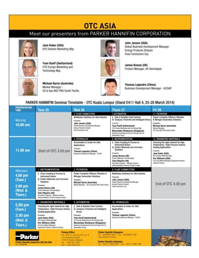Parker TechTalks | Offshore Technology Presentations Schedule for OTCAsia | Parker Hannifin