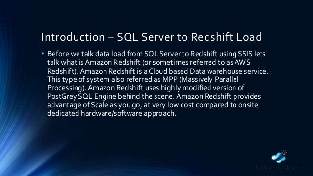 SQL Server to Redshift Data Load Using SSIS