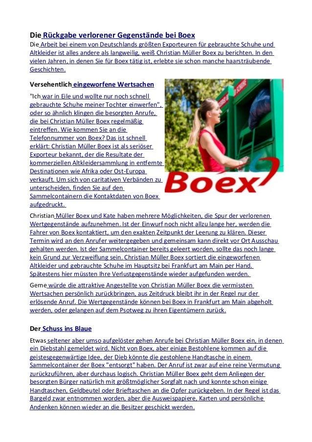 Die Rückgabe verlorener Gegenstände bei Boex Die Arbeit bei einem von Deutschlands größten Exporteuren für gebrauchte Schu...