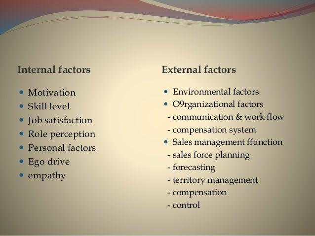 Internal factors External factors  Motivation  Skill level  Job satisfaction  Role perception  Personal factors  Ego...