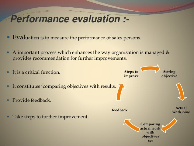 Performance evaluation :-  Evaluation is to measure the performance of sales persons.  A important process which enhance...