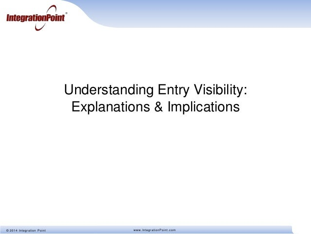 © 2014 Integration Point www.IntegrationPoint.com Understanding Entry Visibility: Explanations & Implications